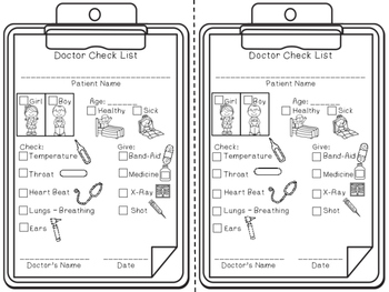 Doctor Play Checklist - Dramatic Play