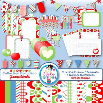 Docudéco J'aime l'école (clipart)/I love school clipart