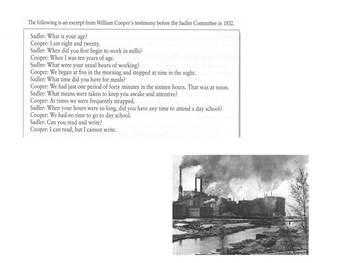 Document Based Questions Industrial Revolution DBQ Grade 9, 10