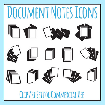 Document Notes / Paper Pile Icons Clip Art Set for Commercial Use