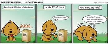 Dog Bone Fractions comic word problem, uncommon denominators