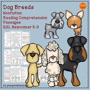 ESL Newcomer Dog Breeds- Nonfiction Reading Comprehension