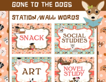 Dog Classroom Theme Word Walls Classroom Signs Posters, Sc