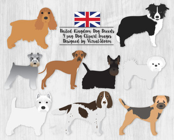 Dog Clip Art V4, 9 Hand Drawn and Detailed Pet Clipart Ill