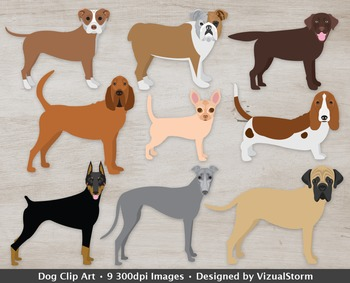 Dog Clip Art, 9 Hand Drawn Dog Illustrations, Doberman, Ho