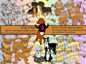 Dog Days - Clip Art and Digital Paper Pack - {for personal
