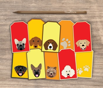 Dog Gift Tags - 10 Handmade Illustrated Pet Hang Tags For