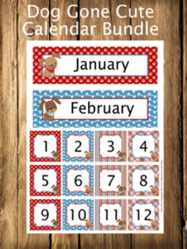Dog Gone Cute Calendar Set - Months - Days - Numbers