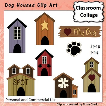 Dog Houses Clip Art - color - personal & commercial use