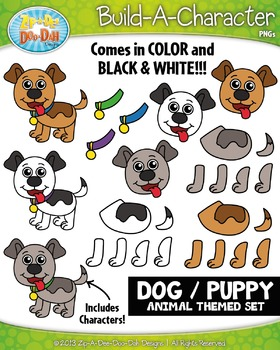 Dog / Puppy Build-A-Character Clipart Set — Includes 35+ G