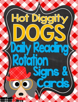Dog Theme Daily Reading Rotation Signs and Cards *editable*