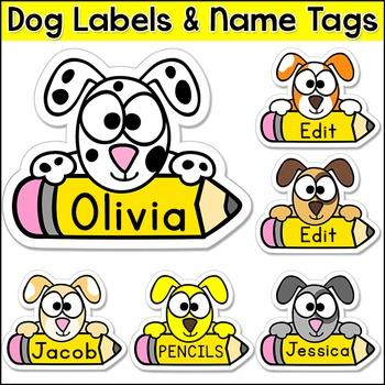 Dog Theme Name Tags