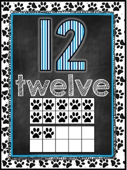 Dog Themed Classroom Decor Number Word Posters (11-20) [bl