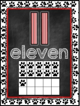 Dog Themed Classroom Decor Number Word Posters (11-20) [re