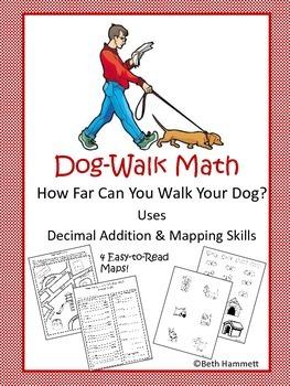 Dog-Walk Math (Decimals Addition and Mapping Skills)