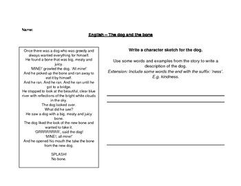 Dog and Bone fable writing worksheet