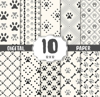 Dog white digital paper pack. Digital papers with dogs