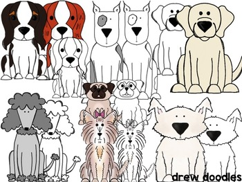 Dogs Clipart- Color AND Black Line Versions