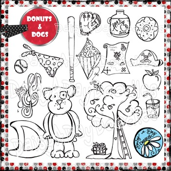 Dogs & Donuts - Line Art