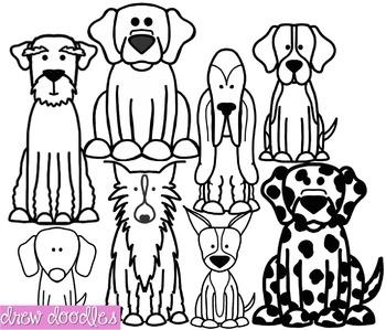 Dogs Set 2 Clipart- Black Line Version