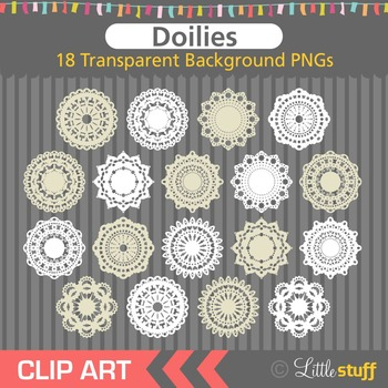 Doilies Clipart, White and Ivory Doily Clip Art