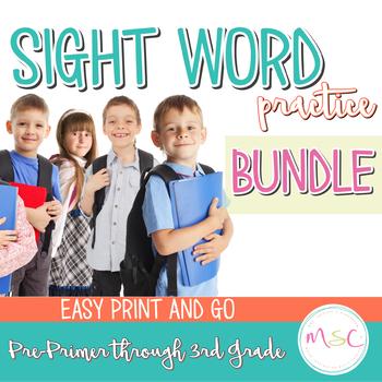 Dolch Sight Word Practice--BUNDLE PrePrimer through 3rd Grade