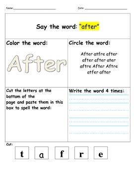 Dolch 1st Grade- Say it, color it, find it, cut it, write it