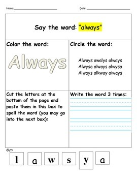 Dolch 2nd Grade- Say it, color it, find it, cut it, write it