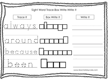 Dolch 2nd Grade Trace, Box Write, Write worksheets.  Presc