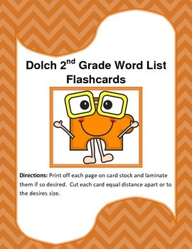 Dolch 2nd Grade Word List Flash Cards.