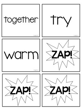 Dolch 3rd (Third) Grade Printable Sight Words ZAP! Game