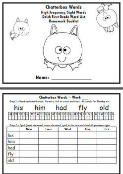Dolch First Grade 1 Sight Words Homework READING SPELLING