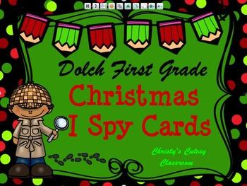 Dolch First Grade Christmas I Spy Cards