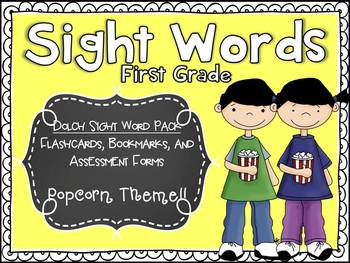 Dolch First Grade Sight Word Assessment Pack Popcorn Theme