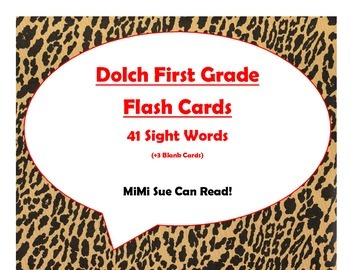 Dolch First Grade Sight Word Flash Cards (Cheetah/Leopard