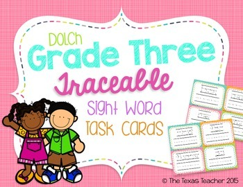 Dolch Grade Three Traceable Sight Word Task Cards