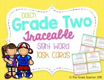 Dolch Grade Two Traceable Sight Word Task Cards