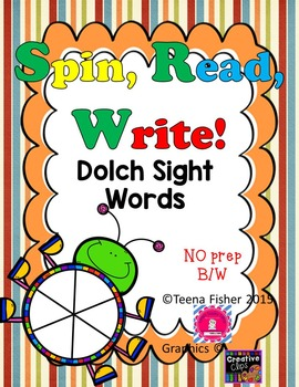 Dolch High Frequency Sight Word, Spin, Read, & Write NO PR