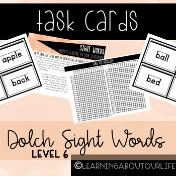 Dolch Level Six Sight Words--Task Cards