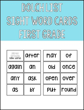 Dolch List First Grade Sight Word Flashcards