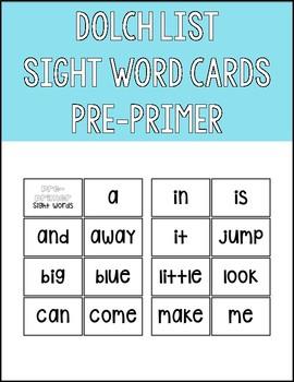 Dolch List Pre-Primer Sight Word Flashcards