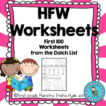 Dolch List Sight Words First 100  words Practice Worksheets