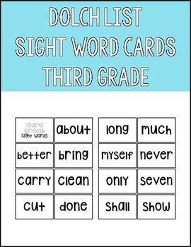 Dolch List Third Grade Sight Word Flashcards