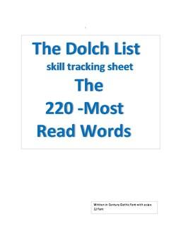 Dolch List data sheet
