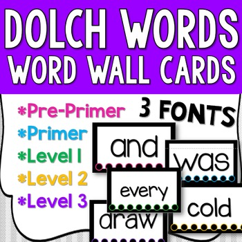 Dolch Lists Word Wall Cards (Color Coded!) Days and Months