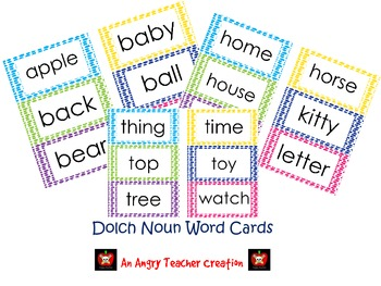 Dolch Noun Word Cards