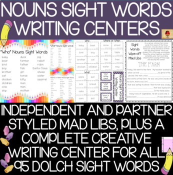 Dolch Nouns Sight Words Mad Libs Set