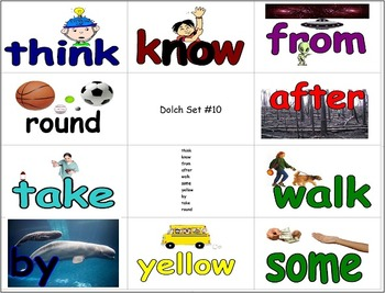 Dolch Picture Cue 1/4 Page Flashcards - 154 Pages