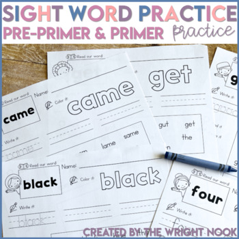 Dolch Pre-Primer AND Primer Word Practice (92 WORDS)