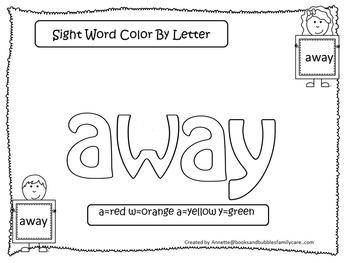 Dolch Pre-Primer Color by Letter worksheets.  Preschool si